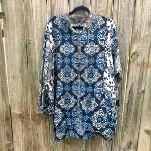 Johnny Was Silk Printed Floral Button Down Blouse